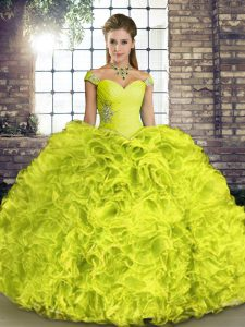 Yellow Green Off The Shoulder Lace Up Beading and Ruffles Sweet 16 Dresses Sleeveless