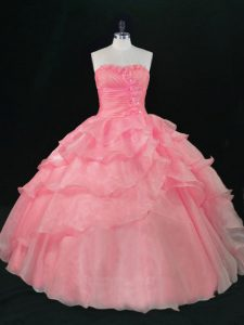 Custom Fit Watermelon Red Sweetheart Lace Up Beading and Ruffles Quince Ball Gowns Sleeveless