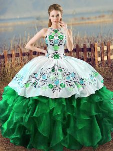 Green Sleeveless Embroidery and Ruffles Floor Length Quinceanera Gowns