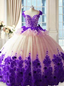 Hand Made Flower 15 Quinceanera Dress White And Purple Zipper Sleeveless Brush Train