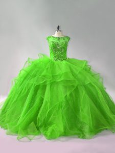 Sophisticated Ball Gowns Organza Scoop Sleeveless Beading and Ruffles Lace Up Quince Ball Gowns Brush Train