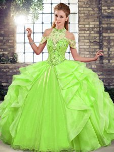 On Sale Lace Up Halter Top Beading and Ruffles Quinceanera Gowns Organza Sleeveless