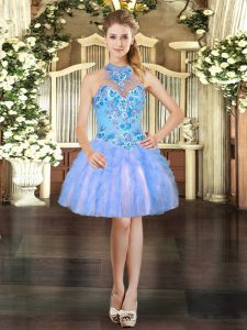 Mini Length Baby Blue Prom Dresses Halter Top Sleeveless Lace Up