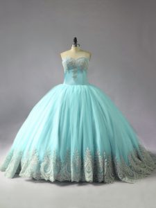 Blue 15th Birthday Dress Sweet 16 and Quinceanera with Appliques Sweetheart Sleeveless Court Train Lace Up