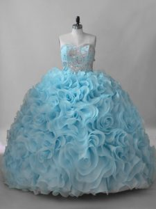 Ball Gowns Sleeveless Baby Blue Quinceanera Dresses Brush Train Lace Up