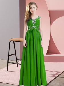Green Lace Up Straps Beading Evening Dress Chiffon Cap Sleeves