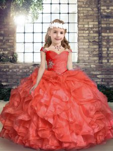 Perfect Coral Red Organza Lace Up Custom Made Pageant Dress Sleeveless Floor Length Beading and Ruching