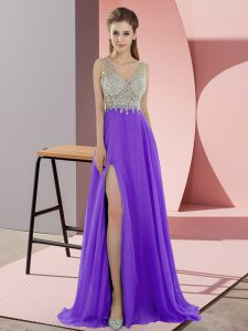 Custom Designed Lavender Chiffon Zipper V-neck Sleeveless Prom Evening Gown Sweep Train Beading