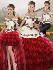 Stunning Off The Shoulder Sleeveless Ball Gown Prom Dress Floor Length Embroidery and Ruffled Layers Wine Red Organza