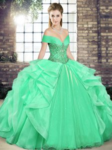 Apple Green Sleeveless Organza Lace Up Quinceanera Dresses for Military Ball and Sweet 16 and Quinceanera
