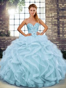Spectacular Light Blue Quinceanera Dresses Military Ball and Sweet 16 and Quinceanera with Beading and Ruffles Sweetheart Sleeveless Lace Up