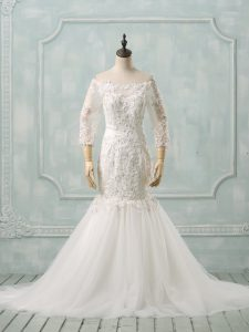 High End Lace Up Wedding Gown White for Wedding Party with Lace Watteau Train