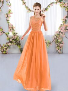Lace Court Dresses for Sweet 16 Orange Zipper Sleeveless Floor Length