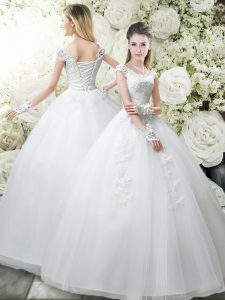 Edgy Floor Length White Wedding Dress Scoop Cap Sleeves Lace Up