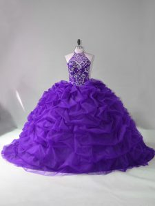 Beading and Pick Ups Quinceanera Dress Purple Lace Up Sleeveless Court Train