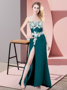 Column/Sheath Celebrity Style Dress Teal Sweetheart Chiffon Sleeveless Floor Length Zipper