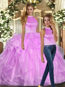Superior Lilac Organza Backless Sweet 16 Quinceanera Dress Sleeveless Floor Length Beading and Ruffles