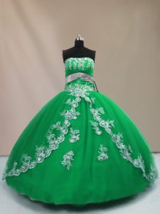 Fine Green Ball Gowns Strapless Sleeveless Tulle Floor Length Lace Up Appliques Quinceanera Gowns