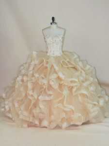 Sweet Champagne Sweetheart Lace Up Beading and Ruffles Quinceanera Dress Sleeveless