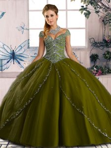 Organza Cap Sleeves Quinceanera Gown Brush Train and Beading