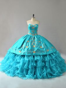 Sleeveless Floor Length Embroidery and Ruffles Lace Up Quinceanera Dresses with Aqua Blue