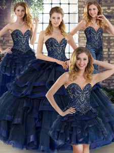 Navy Blue Vestidos de Quinceanera Military Ball and Sweet 16 and Quinceanera with Beading and Ruffles Sweetheart Sleeveless Lace Up