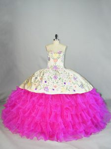 New Style Embroidery and Ruffled Layers Quince Ball Gowns Fuchsia Lace Up Sleeveless