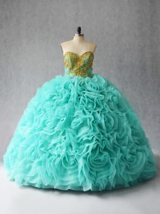 Aqua Blue Sweetheart Neckline Beading and Ruffles Quinceanera Dress Sleeveless Lace Up