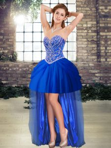 Modern Royal Blue Sweetheart Lace Up Beading Celebrity Style Dress Sleeveless