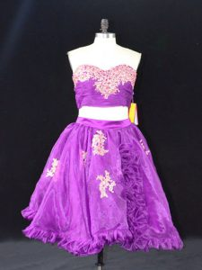 Edgy Mini Length Zipper Dress for Prom Eggplant Purple for Prom and Party with Appliques and Ruffles