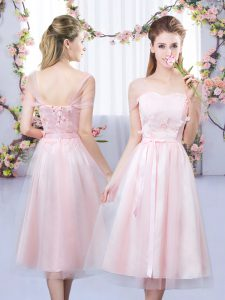 Wonderful Baby Pink Tulle Lace Up Sweetheart Short Sleeves Tea Length Dama Dress for Quinceanera Lace and Belt