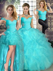 Floor Length Aqua Blue Quinceanera Gowns Off The Shoulder Sleeveless Lace Up