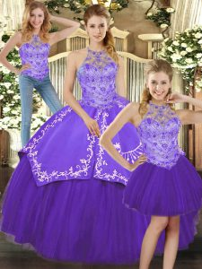 Modest Halter Top Sleeveless Sweet 16 Dresses Floor Length Beading and Embroidery Purple Satin and Tulle