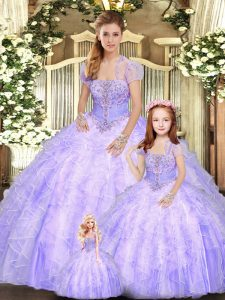 Extravagant Lavender Tulle Lace Up Quinceanera Dress Sleeveless Floor Length Beading and Appliques and Ruffles