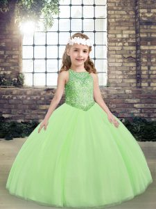 Yellow Green Scoop Lace Up Beading Pageant Dress for Teens Sleeveless