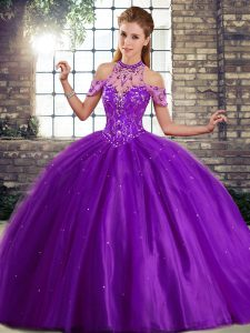 Adorable Sleeveless Brush Train Lace Up Beading 15 Quinceanera Dress