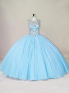 Elegant Blue Lace Up Scoop Beading 15 Quinceanera Dress Tulle Sleeveless