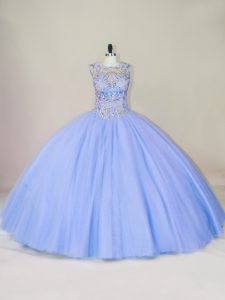 Glorious Beading Quinceanera Gowns Lavender Lace Up Sleeveless Floor Length