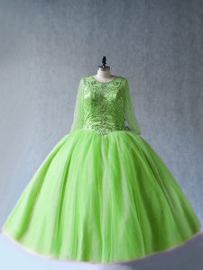 Hot Selling Green Tulle Lace Up Quinceanera Gown Long Sleeves Floor Length Beading