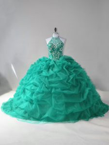 Clearance Turquoise Quince Ball Gowns Sweet 16 and Quinceanera with Beading and Pick Ups Halter Top Sleeveless Court Train Lace Up