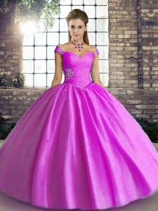 Artistic Ball Gowns Sweet 16 Quinceanera Dress Lilac Off The Shoulder Tulle Sleeveless Floor Length Lace Up