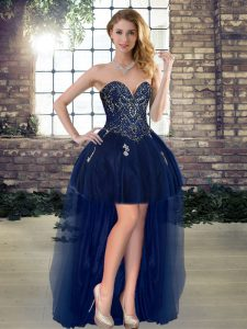 Sweet Navy Blue Sleeveless Beading High Low Prom Evening Gown