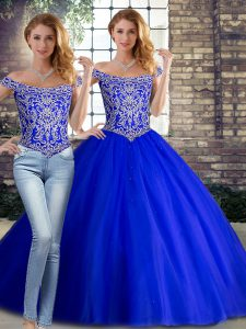 Off The Shoulder Sleeveless Tulle Quinceanera Gown Beading Brush Train Lace Up