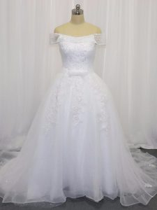 Off The Shoulder Sleeveless Wedding Dresses Court Train Beading and Lace and Belt White Tulle