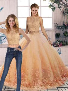 Sweep Train Two Pieces Vestidos de Quinceanera Peach Scalloped Tulle Sleeveless Backless