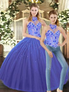 Flare Blue Halter Top Lace Up Embroidery 15 Quinceanera Dress Sleeveless