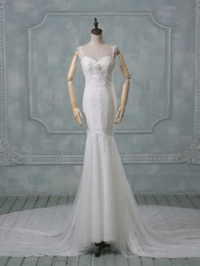 Court Train Mermaid Wedding Dress White Spaghetti Straps Lace Sleeveless Backless