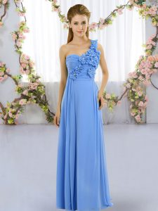 Blue One Shoulder Lace Up Hand Made Flower Bridesmaid Dress Sleeveless