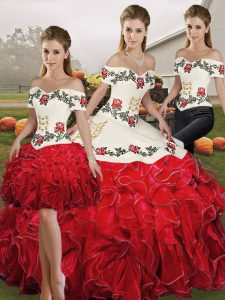 Nice Floor Length White And Red Ball Gown Prom Dress Organza Sleeveless Embroidery and Ruffles