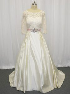 Custom Designed Taffeta Half Sleeves Wedding Dress Brush Train and Beading and Lace